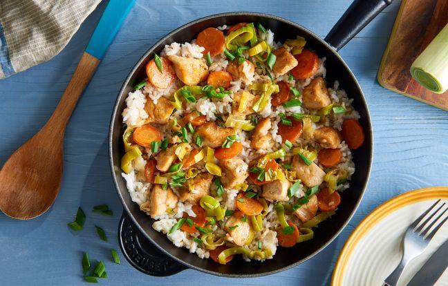 Poêlée de poulet, riz et légumes à la forestière