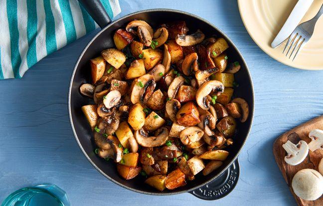 Poêlée de pommes de terre végétarienne à la forestière