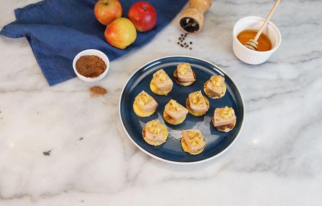 Brioche perdue au foie gras et aux pommes