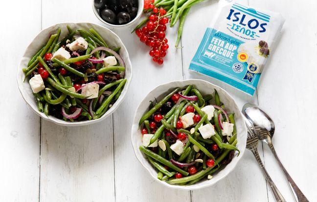 Salade grecque aux haricots verts et à la feta