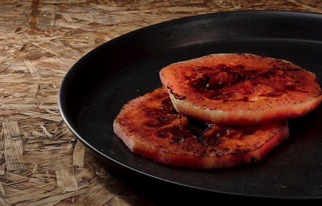 Pastèque grillée au barbecue
