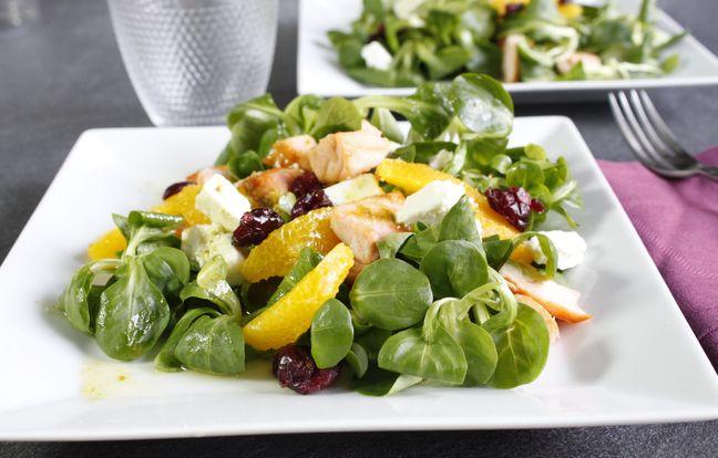 Salade mâche orange et saumon