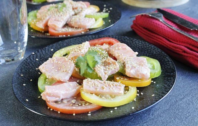 Salade de tomates et saumon mariné citron sésame