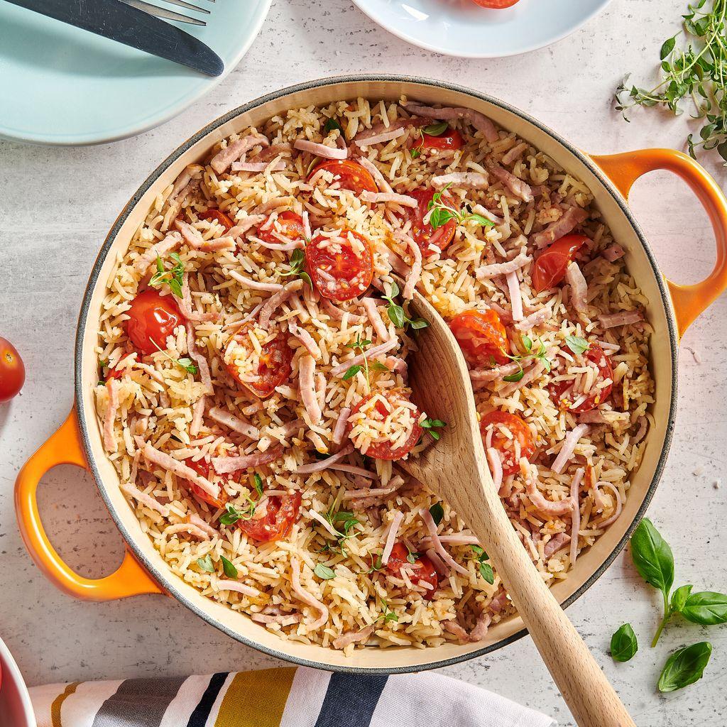 Riz pilaf aux tomates cerise et jambon