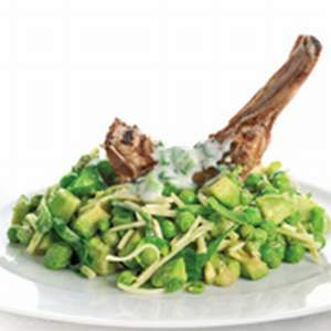 Lamb chops with pea, mint and avocado salad