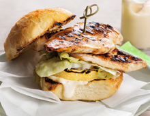 Teriyaki Chicken Burger with Pineapple and Chilli Mayo
