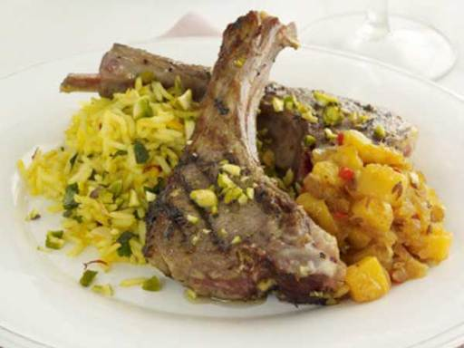 Cumin, Coriander and Ginger Marinated Lamb Cutlets with Saffron Rice and Pistachio crumbs