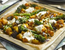 Broccoli, pumpkin & pine nut tart