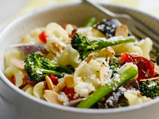 Pasta with roasted vegetables and toasted almonds