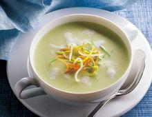 Kartoffel-Suppe mit Lauch und Soja