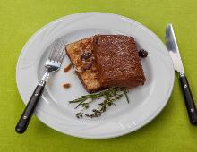 "Mediterraner Tofu ""en papillote"" mit Auberginenkaviar"