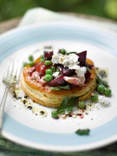 Pea, beetroot, roasted red pepper and goats cheese tart