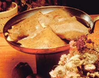 Buckwheat pancakes with ham and cheese