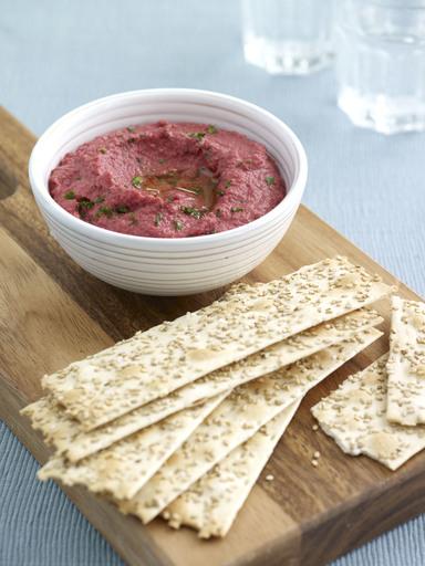 Beetroot & Horseradish Hummus Dip with No-No Corn Sesame Flatbreads