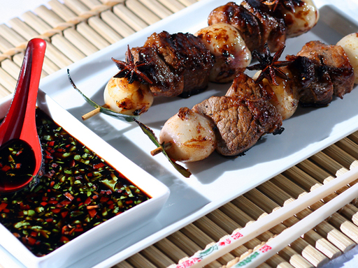 Oriental Lamb, Shallots and Citrus Kebabs with Honey and Soy Dipping Sauce