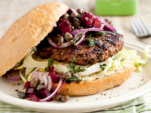 Nordic Burger with Beetroot Salsa, Red Onion and Whole-grain Mustard Mayo