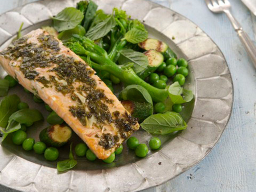 Grilled Salmon and Green Vegetables