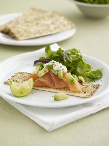 Smoked Salmon, Avocado, Caper and Dill Crème Fraiche No-No Mixed Seed Flatbreads