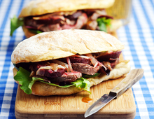 Warm Steak & Beetroot Sandwich with Honey & Mustard Dressing