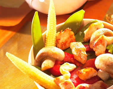 Chicken with baby corn-on-the-cob