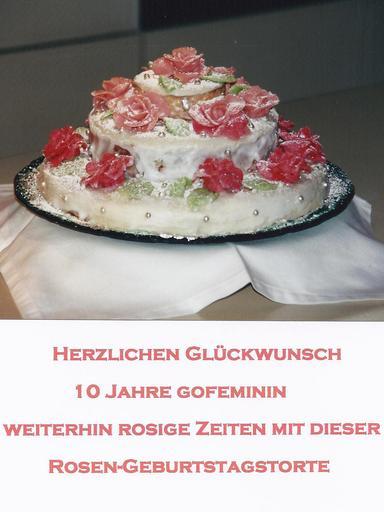 10 Jahre gofeminin: Rosen-Geburtstagstorte