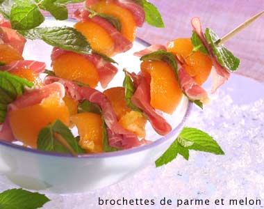 Parma ham and melon skewers