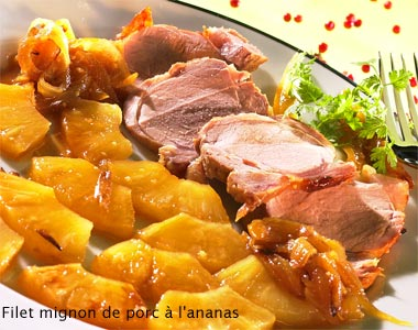 Pork fillets with pineapple