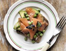 Smoked Salmon on Rye with Avocado & Peas