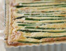 Asparagus, potato and parmesan tart