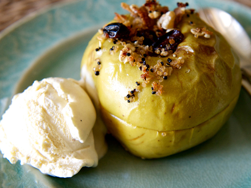 Baked Apples stuffed with Black and Pearl Quinoa, Raisins and Walnuts