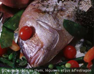 Roasted sea bass with thyme  and tarragon