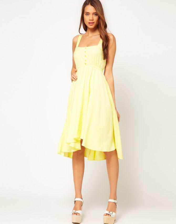 Katie Holmes robe jaune été
