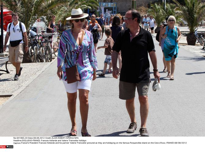 Valérie Trierweiler look de plage bermuda blanc vacances