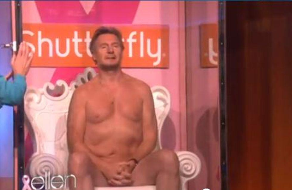 Liam Neeson se déshabille contre le cancer du sein (Vidéo)