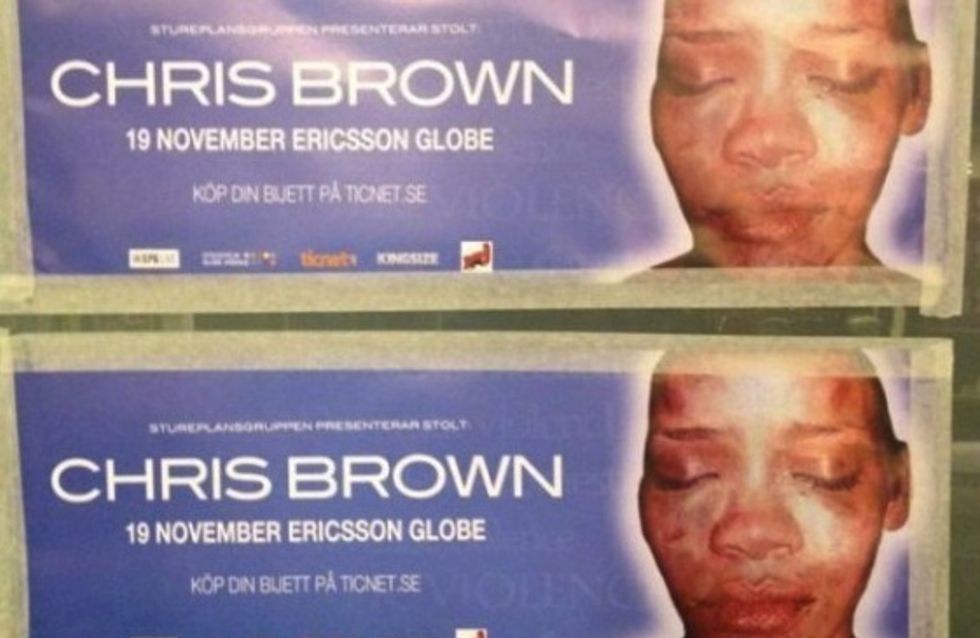 Rihanna : Son visage défiguré sur les affiches de Chris Brown (Photos)