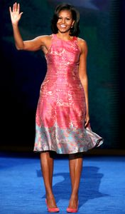 Michelle obama, style, anniversaire, robe rose