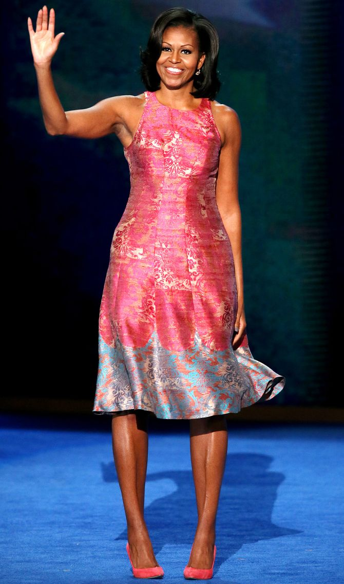 Michelle obama, style, anniversaire, robe rose