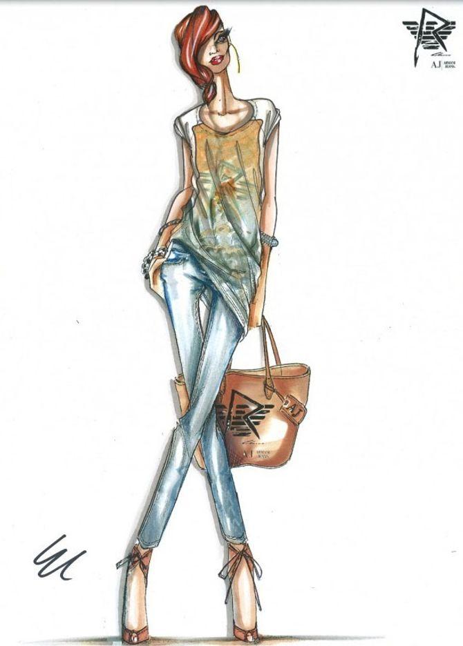 Rihanna, Armani Jeans Jeans, styliste