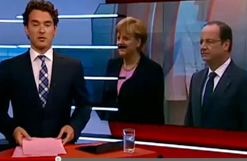 Angela Merkel : Affublée de la moustache d'Hitler à télévision (Vidéo)