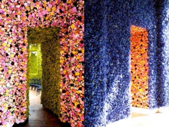 fashion week coulisses defile dior fleurs