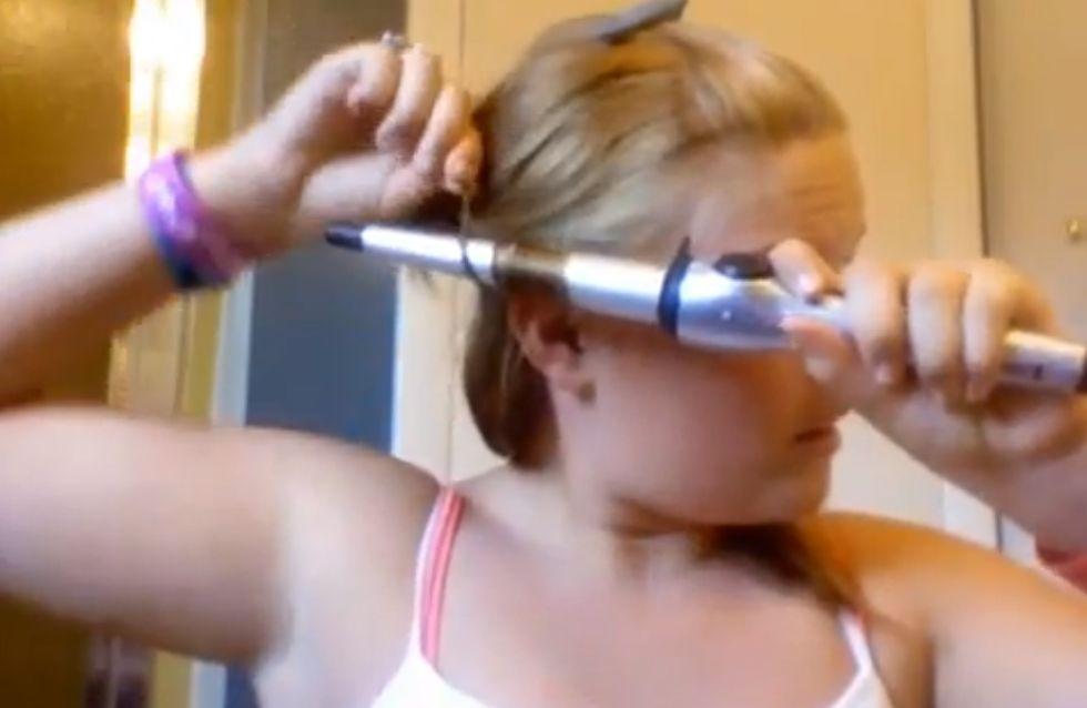 Elle se brûle les cheveux pendant un tutoriel beauté ! (Vidéo)