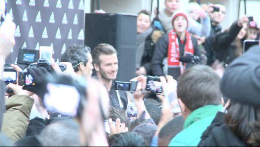 David Beckham au magasin Adidas jeudi après-midi