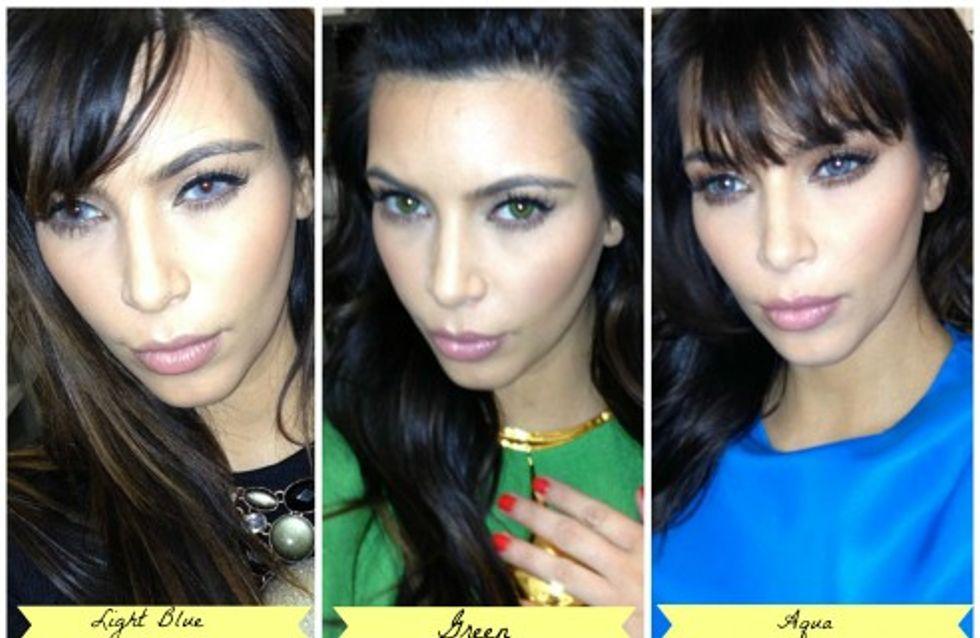 Kim Kardashian s'essaye aux yeux bleus et verts et elle est méconnaissable !