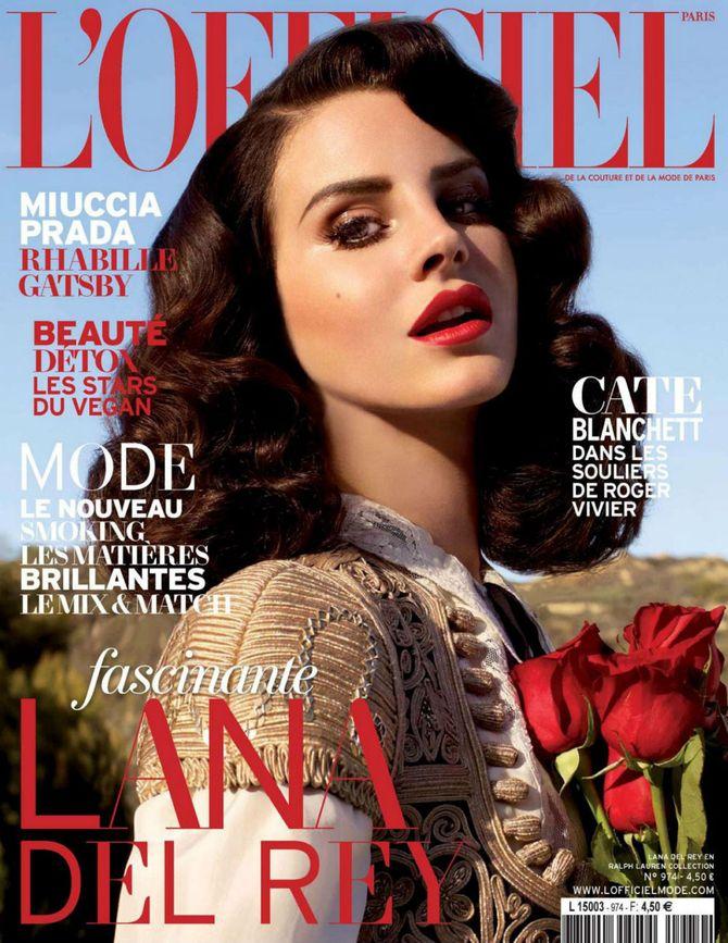 Lana Del Rey en couverture du numéro d'avril de L'Officiel