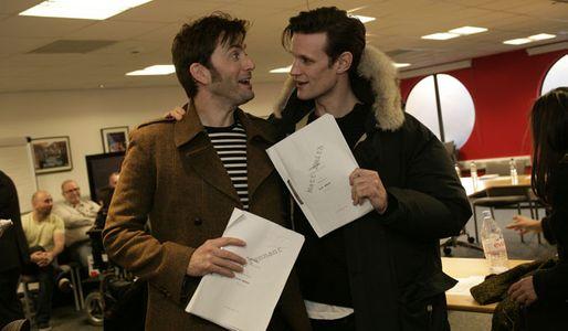 David Tennant and Matt Smith at the read-through