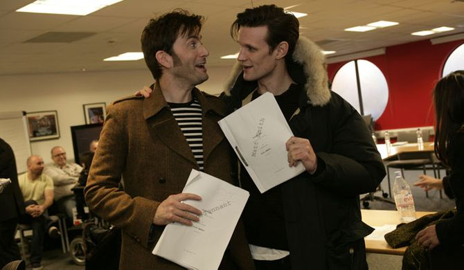 David Tennant and Matt Smith at the read-through