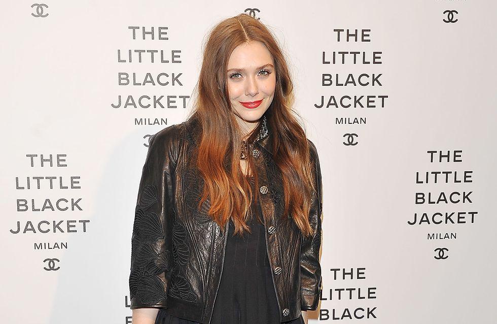 Elizabeth Olsen : Sublime et rock en veste noire Chanel