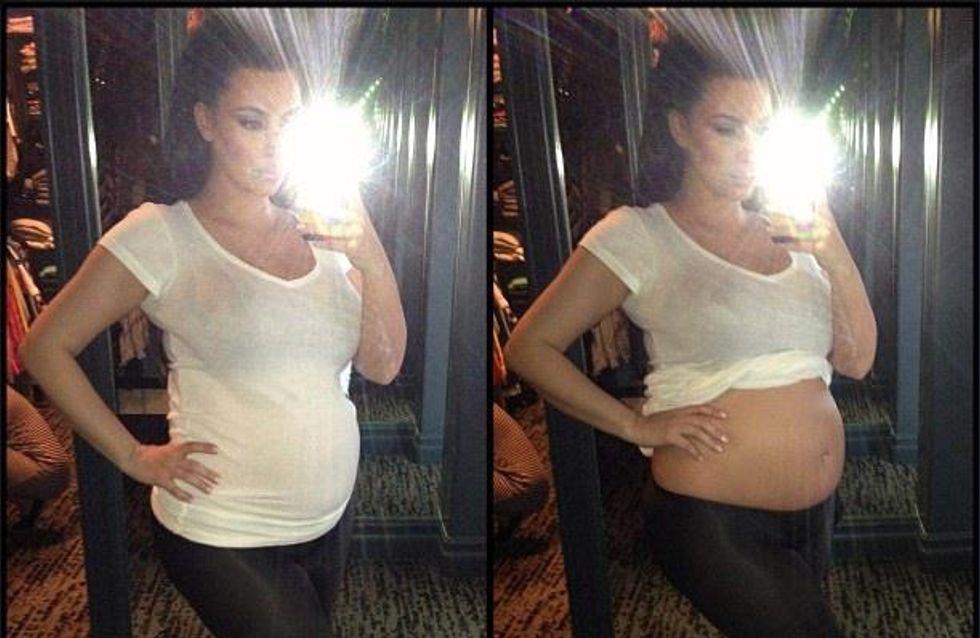 Kim Kardashian enceinte : Son ventre nu sur Twitter !