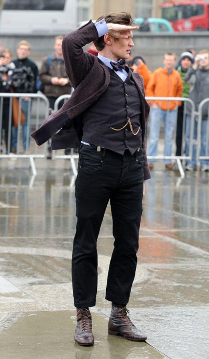 Matt Smith filming in Trafalgar Square