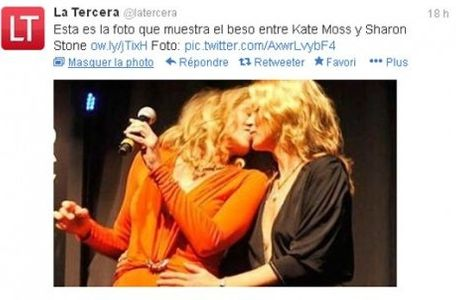Kate Moss et Sharon Stone s'embrassent